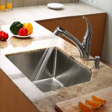"<strong>Kraus</strong> 23"" x 18.75"" Undermount Single Bowl Kitchen Sink with Kitchen Faucet and Soap Dispenser"