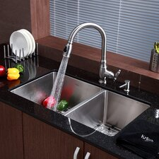 "Stainless Steel 33"" x 19"" Undermount 70/30 Double Bowl Kitchen Sink with Faucet and Soap Dispenser"