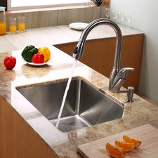 "23"" x 18.75"" Undermount Kitchen Sink with Kitchen Faucet and Soap Dispenser"