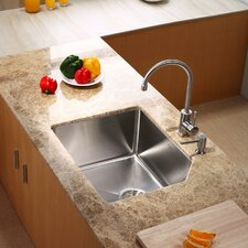 "23"" x 18.75"" x 10"" Undermount Kitchen Sink with Kitchen Faucet and Soap Dispenser"