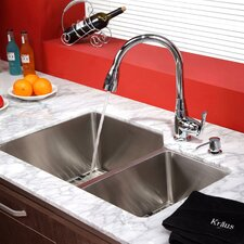 "32"" x 20"" x 10"" Undermount Double Bowl Kitchen Sink with Faucet and Soap Dispenser"