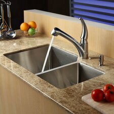 "<strong>Kraus</strong> 32"" x 20"" Double Bowl 70/30 Undermount Kitchen Sink with Kitchen Faucet and Soap Dispenser"
