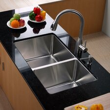 "32.75"" x 19"" Undermount Double Bowl Kitchen Sink with Kitchen Faucet and Soap Dispenser"