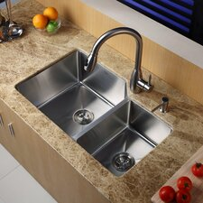 "<strong>Kraus</strong> 32"" x 20"" Double Bowl Undermount Kitchen Sink with Faucet and Soap Dispenser"