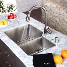 "33"" x 20"" Undermount Double Bowl Kitchen Sink and Pull Out Kitchen Faucet with Soap Dispenser"