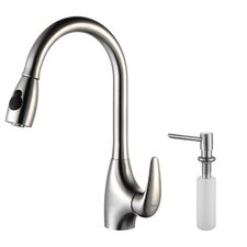 <strong>Kraus</strong> One Handle Single Hole Kitchen Faucet with Soap Dispenser and Pull-Out Spray