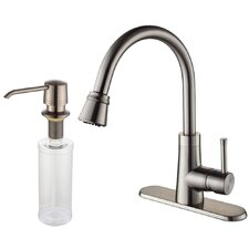 "One Handle Single Hole Kitchen 14.63"" Faucet with Soap Dispenser and Pull Out Spray"