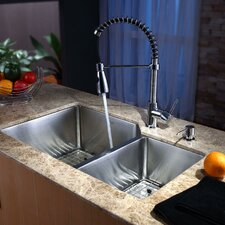 "32"" x 20"" Undermount Kitchen Sink with Faucet and Soap Dispenser"