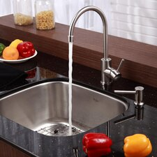 "Stainless Steel 20"" x 17.75"" Undermount Single Bowl Kitchen Sink with 14"" Kitchen Faucet and Soap Dispenser"