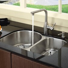 "<strong>Kraus</strong> 30"" x 19.5"" 8 Piece Undermount Double Bowl Kitchen Sink Set"