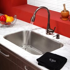 "31.5"" x 18.38"" 6 Piece Undermount Single Bowl Kitchen Sink Set"