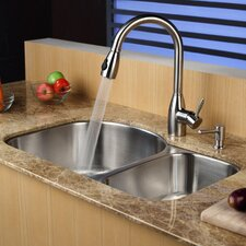 "31.5"" x 20.5""  8 Piece Undermount Double Bowl Kitchen Sink Set"