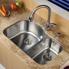 "31.5"" x 20.5"" Double Bowl Undermount Kitchen Sink with Faucet and Soap Dispenser"
