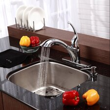 "Stainless Steel 20"" x 17.75"" Undermount Single Bowl Kitchen Sink with 11"" Kitchen Faucet and Soap Dispenser"