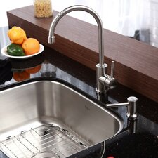 "Stainless Steel 23"" x 17.75"" Undermount Single Bowl Kitchen Sink with 14"" Kitchen Faucet and Soap Dispenser"