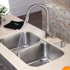 "<strong>Kraus</strong> 32.25"" x 18.5"" 8 Piece Undermount Double Bowl Kitchen Sink Set"