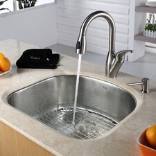 """23.25"""" x 20.88"""" Undermount Single Bowl Kitchen Sink with Faucet and Soap Dispenser"""