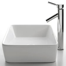 Ceramic Rectangular Bathroom Sink with Sheven Single Lever Faucet