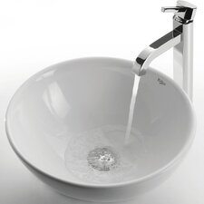 <strong>Kraus</strong> Ceramic Round Bathroom Sink with Ramus Single Lever Faucet