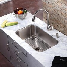 "31.5"" x 18.38"" Undermount Single Bowl Kitchen Sink and Faucet with Soap Dispenser"