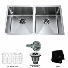 "32.75"" x 19"" 6 Piece Undermount Double Bowl Kitchen Sink"