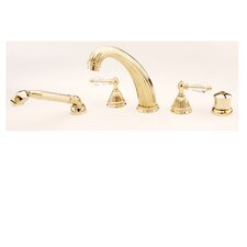 Celina Double Handle Thermostatic Roman Tub Faucet with Hand Shower with Crystal Handle