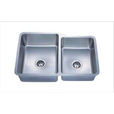 "Almost Zero 32"" x 21"" Undermount Offset Double Bowl Kitchen Sink"