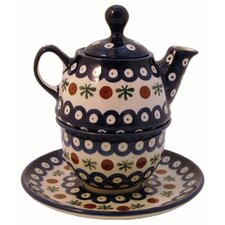 <strong>Euroquest Imports Polish Pottery</strong> 10 oz Tea for One Teapot & Saucer - Pattern 41A