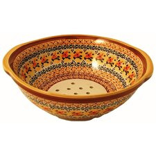 "<strong>Euroquest Imports Polish Pottery</strong> 10"" Berry Bowl / Strainer - Pattern DU70"