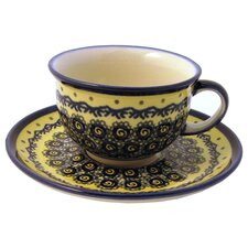 <strong>Euroquest Imports Polish Pottery</strong> 8 oz. Coffee Cup and Saucer
