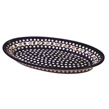 "<strong>Euroquest Imports Polish Pottery</strong> 14"" Oval Serving Platter"