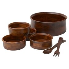 Rubberwood 7 Piece Salad Serving Set