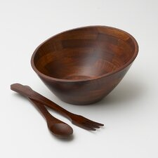 Rubberwood Angle 3 Piece Salad Serving Set