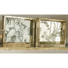 Assorted Mirrored Trays with Etched Design (Set of 4)