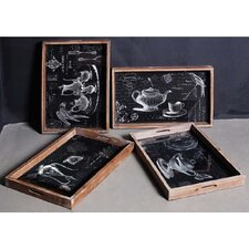 4 Assorted Designer Mirrored Trays
