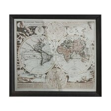 Designer Large Mirror with World Map Etched