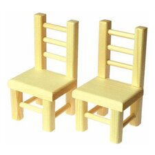 Solid Pine Dining Chairs Doll Furniture (Set of 2)