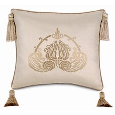 Evora Embroidered Shantung Linen Pillow
