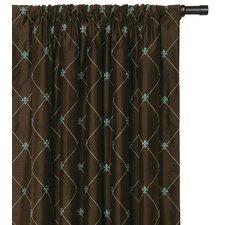 Rainier Embroidered Silk Rod Pocket Curtain Single Panel