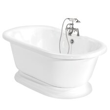 "<strong>American Bath Factory</strong> Beacon Hill 70"" x 32"" AcraStone Double Ended Champagne Massage Bathtub"