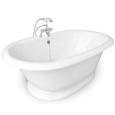 "<strong>American Bath Factory</strong> Heritage 72"" x 42"" AcraStone Double Ended Champagne Massage Bathtub"