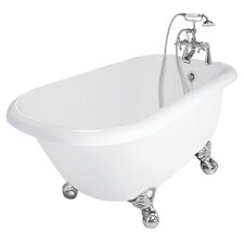 "<strong>American Bath Factory</strong> Trinity 60"" x 30"" AcraStone Traditional Left Champagne Massage Bathtub"