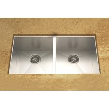 "Contempo 33"" x 18"" Zero Radius Undermount Double Bowl 50/50 Kitchen Sink"
