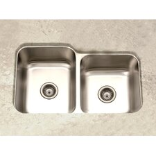 "Elite 31.5"" x 17.94 - 20.19"" Undermount Double Bowl 60/40 Kitchen Sink"