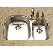 "<strong>Houzer</strong> Medallion Designer 32.5"" x 17.19 - 20.69"" Undermount Double Bowl 70/30 Kitchen Sink"