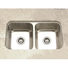 "Elite 31.5"" x 17.94"" Undermount Double Bowl 50/50 Kitchen Sink"