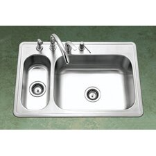 "Legend 33"" x 15.75 - 22"" Topmount Double Bowl 80/20 Kitchen Sink"