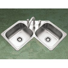 "Legend 31.88"" x 17"" Topmount Corner Bowl Kitchen Sink"