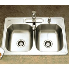 "Glowtone ADA Compliant 33"" x 22"" Topmount Double Bowl 18 Gauge Kitchen Sink"