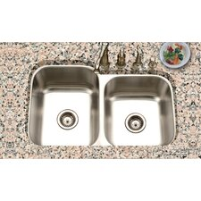 "<strong>Houzer</strong> Eston 31.25"" x 20"" Undermount 60/40 Double Bowl Kitchen Sink"